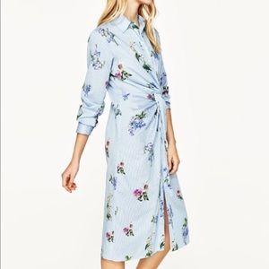 Zara Blue White Striped Floral Shirtdress